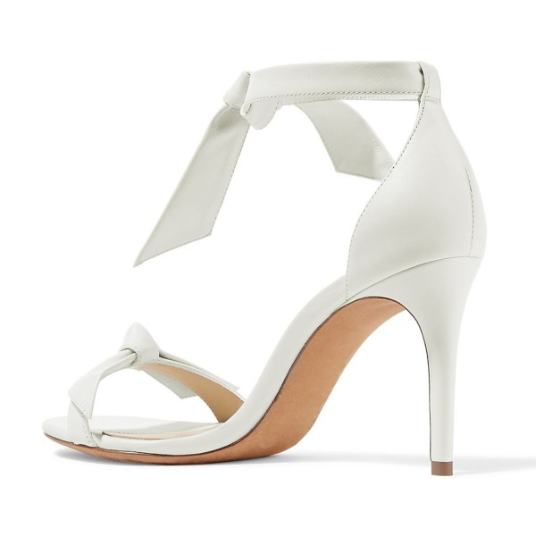 White Bow Stiletto Heel Ankle Strap Sandals for Women image 4