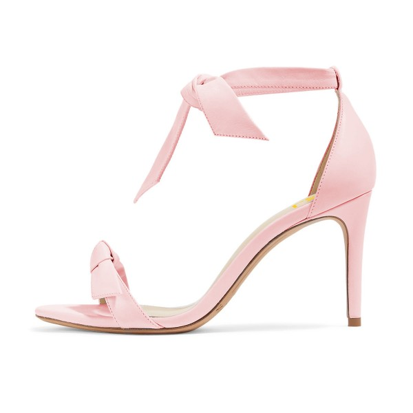 Women's Light Pink Bow Stiletto Heel Ankle Strap Sandals image 4