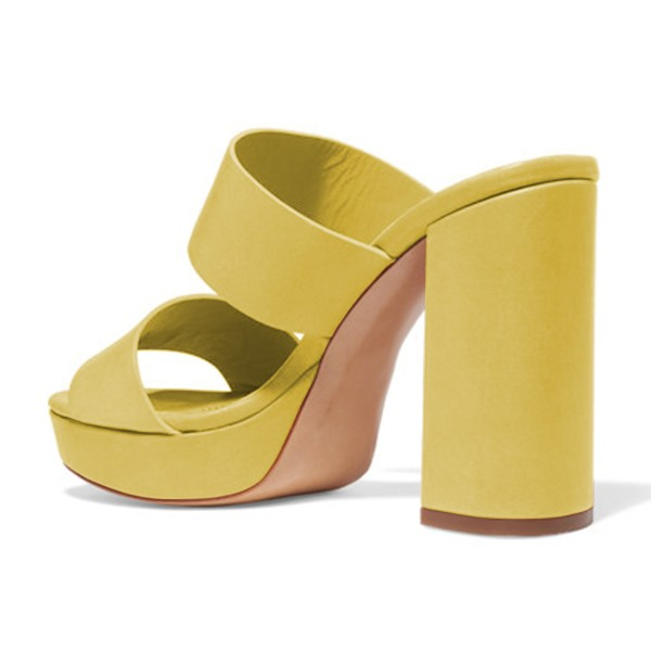 Yellow Mule Heels Open Toe Platform Chunky Heels for Office Lady image 2