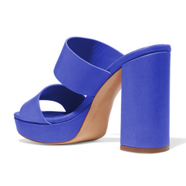 Blue Mule Heels Open Toe Platform Chunky Heels for Office Lady image 2