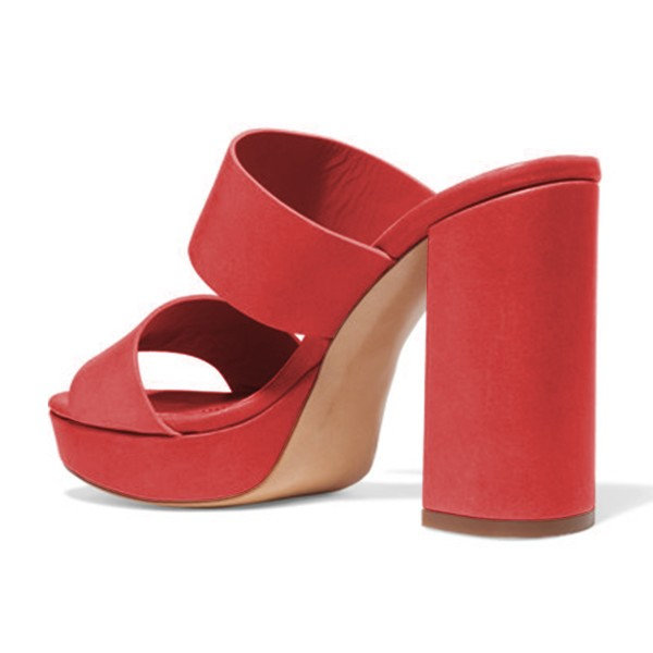 Women's Red Suede Open Toe Chunky Heels Mules Sandals image 2