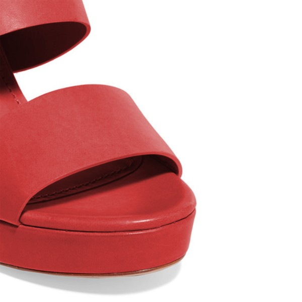 Women's Red Suede Open Toe Chunky Heels Mules Sandals image 3