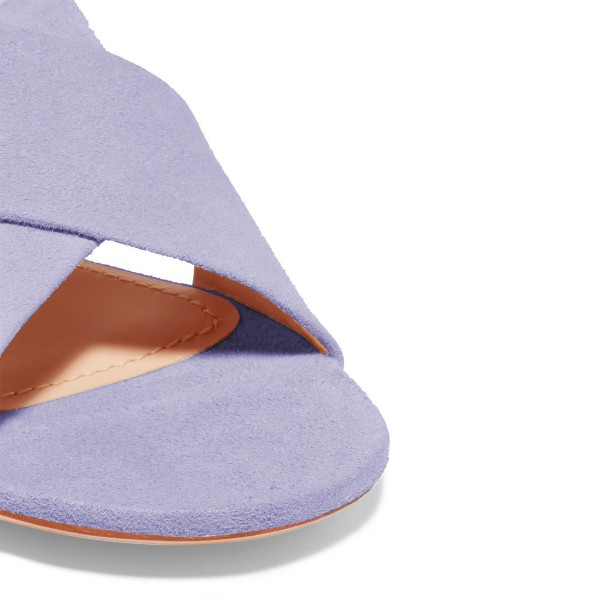 On Sale Lilac Suede Shoes Women's Slide Sandals image 4