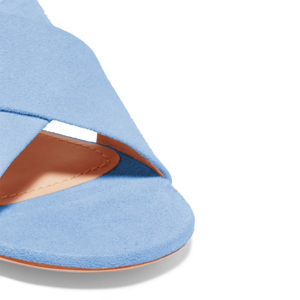 Women's Light Blue Suede Mule Chunky Heel Sandals image 3
