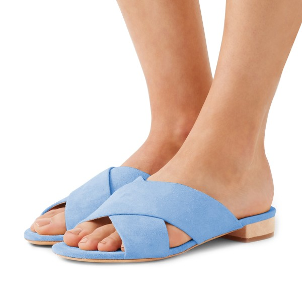 Women's Light Blue Suede Mule Chunky Heel Sandals image 1