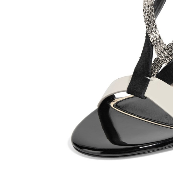 Grey White Strappy Sandals Open Toe Stiletto Heels with Metal Embellishment image 3