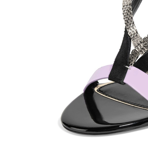 Light Purple Strappy Sandals Stiletto Heels with Metal Embellishment image 3