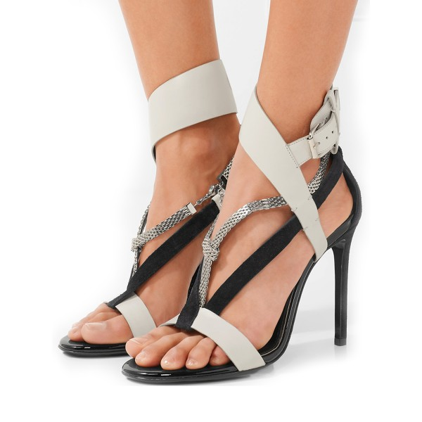 Grey White Strappy Sandals Open Toe Stiletto Heels with Metal Embellishment image 1