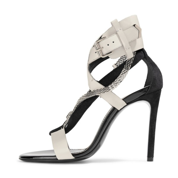 Grey White Strappy Sandals Open Toe Stiletto Heels with Metal Embellishment image 4
