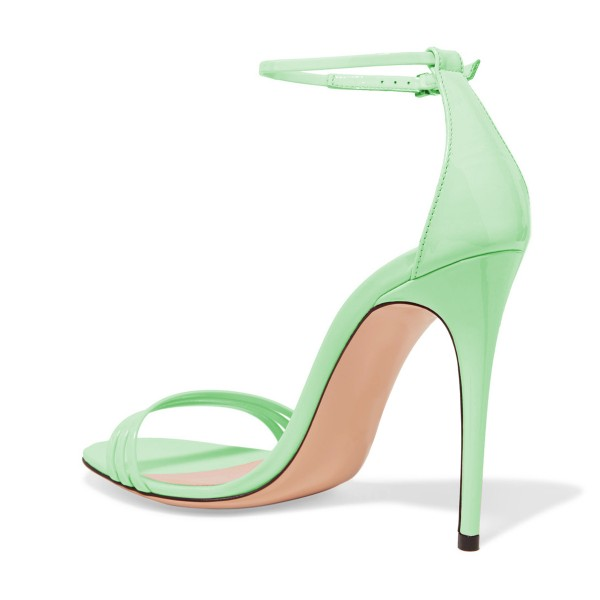 FSJ Lime Ankle Strap Sandals Open Toe Stiletto Heel Office Shoes image 2