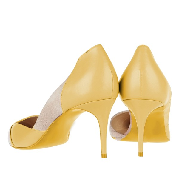 Yellow Kitten Heels Pointy Toe Dorsay Pumps for Ladies image 2