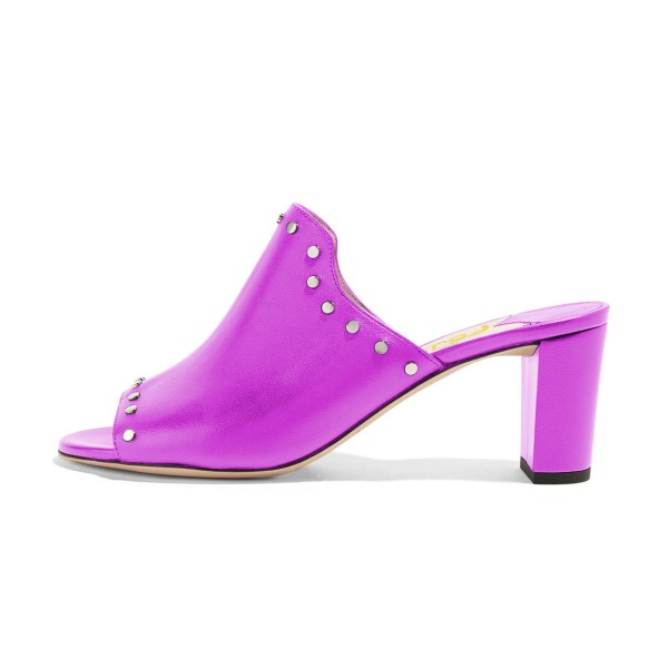 Women's Plum Open Toe with Metal Mule chunky Heel Sandals image 4