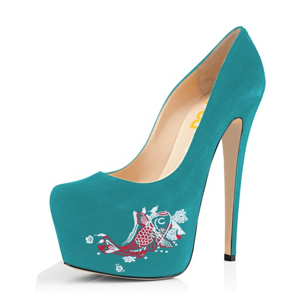 Teal Shoes Carp Print Suede Chunky Heel Platform Pumps by FSJ image 1