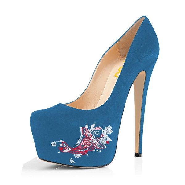 Women's Blue Suede Fish Printed Platform Heels Stiletto Pumps image 1