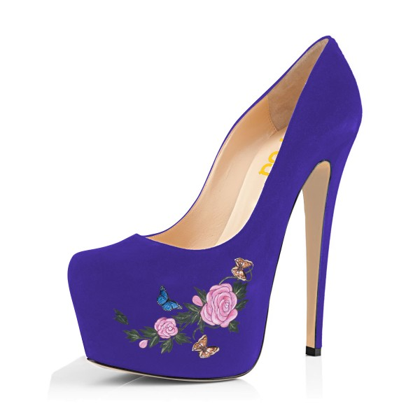 Women's Purple Suede Flora Butterfly Printed Platform Heels Stiletto Pumps image 1