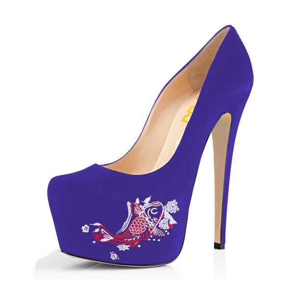 Women's Purple Suede Fish Printed Platform Heels Stiletto Pumps image 1