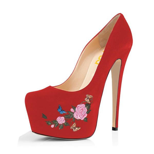 Women's Coral Red Suede Flora Butterfly Printed Platform Heels Stiletto Pumps image 1