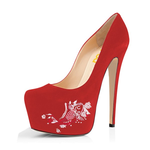 Women's Coral Red Suede Fish Printed Platform Heels Stiletto Pumps image 1