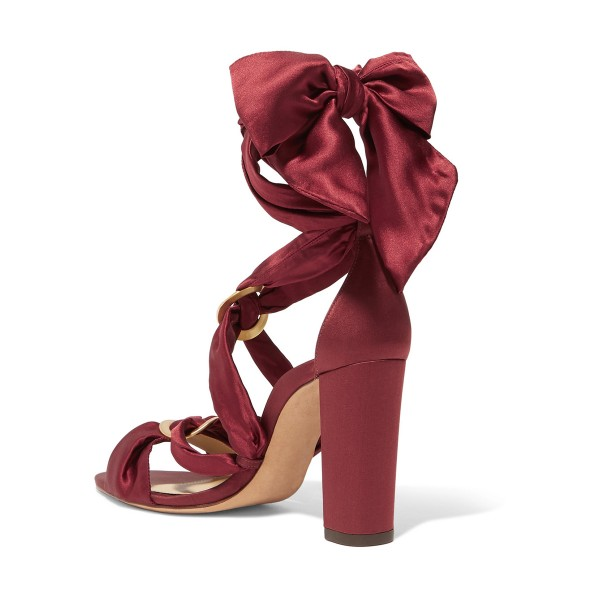 Burgundy Heels Satin Open Toe Chunky Heel Strappy Sandals by FSJ image 2