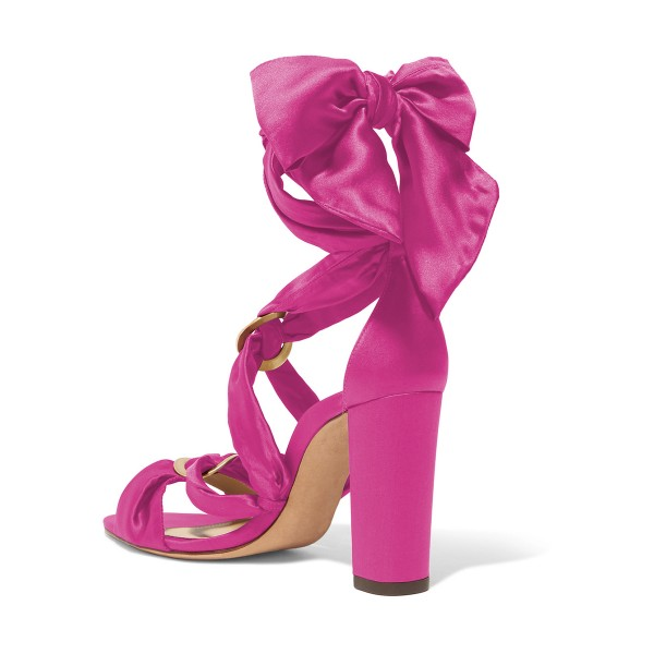 Women's Plum Bow Chunky Heel Strappy Sandals image 2