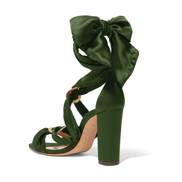 Women's Green Bow Chunky Heel Strappy Sandals image 2