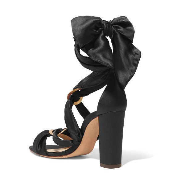 Women's Black Bow Chunky Heel Strappy Sandals image 2