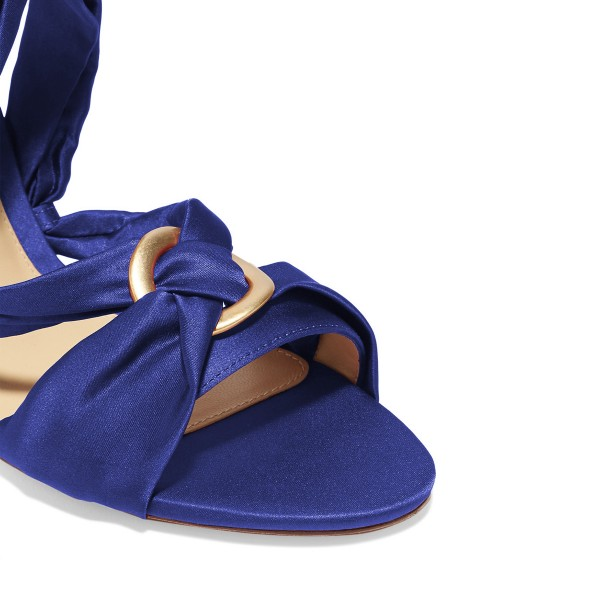 Women's Deep Blue Bow Chunky Heel Strappy Sandals image 3