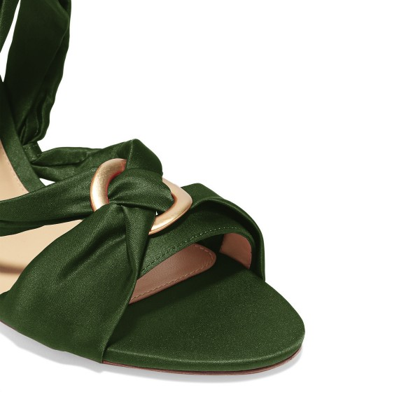 Women's Green Bow Chunky Heel Strappy Sandals image 3