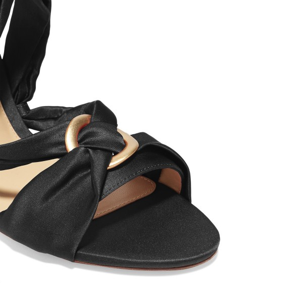 Women's Black Bow Chunky Heel Strappy Sandals image 3