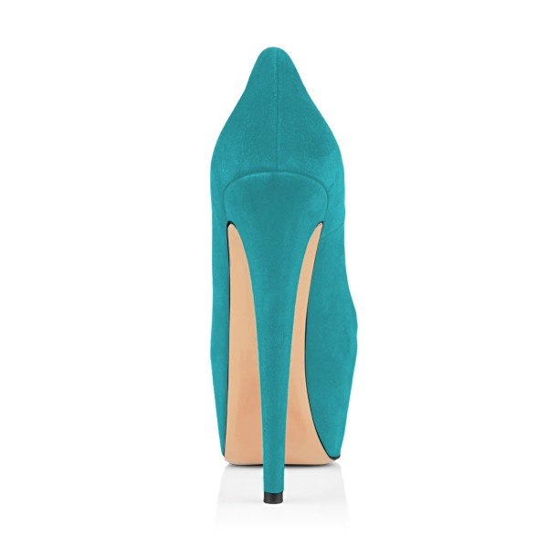 Teal Shoes Carp Print Suede Chunky Heel Platform Pumps by FSJ image 3
