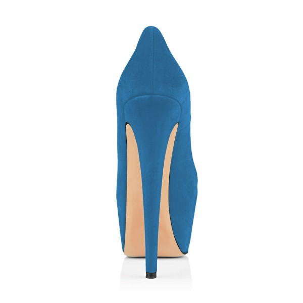 Women's Blue Suede Fish Printed Platform Heels Stiletto Pumps image 3