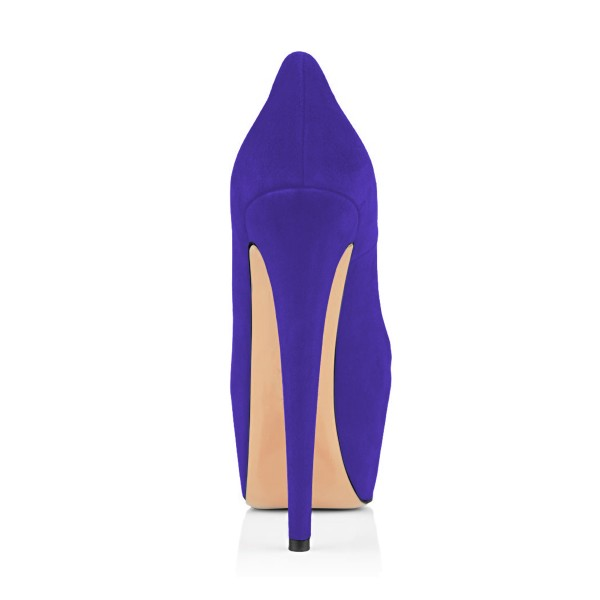 Women's Purple Embroidery Platform Heels Stiletto Pumps image 3