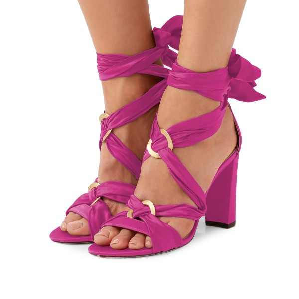 Women's Plum Bow Chunky Heel Strappy Sandals image 1