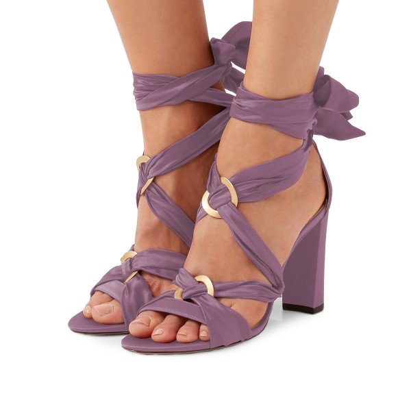 Women's Violet Bow Chunky Heel Strappy Sandals image 1