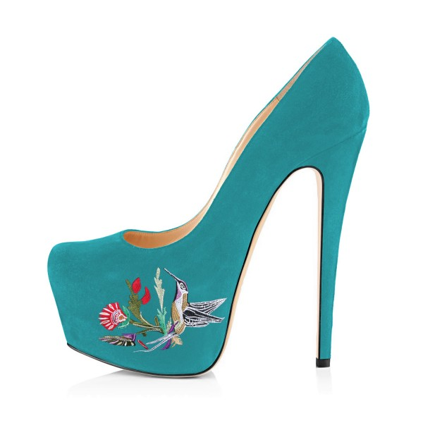 Teal Shoes Floral Print Suede Chunky Heel Platform Pumps by FSJ image 2