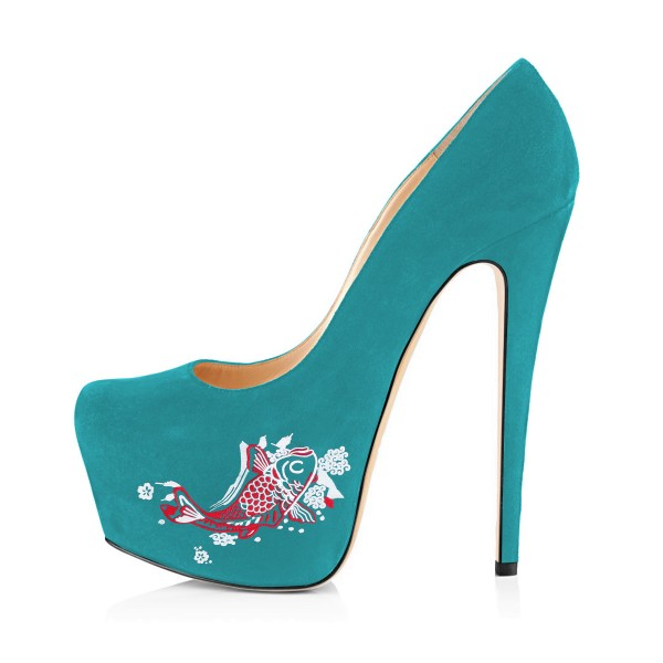 Teal Shoes Carp Print Suede Chunky Heel Platform Pumps by FSJ image 4