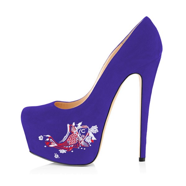 Women's Purple Suede Fish Printed Platform Heels Stiletto Pumps image 4