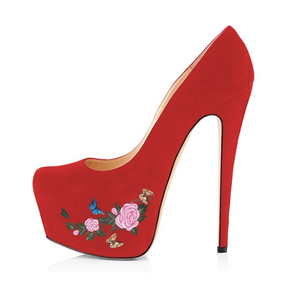 Women's Coral Red Suede Flora Butterfly Printed Platform Heels Stiletto Pumps image 4
