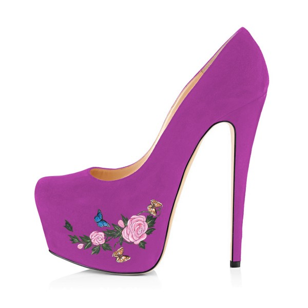 Women's Orchid Suede Flora Butterfly Printed Platform Heels Stiletto Pumps image 4