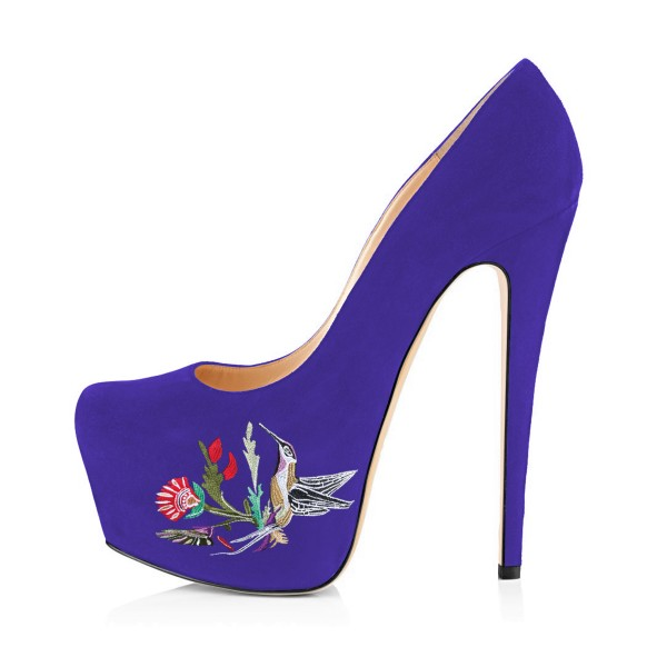 Women's Purple Embroidery Platform Heels Stiletto Pumps image 4