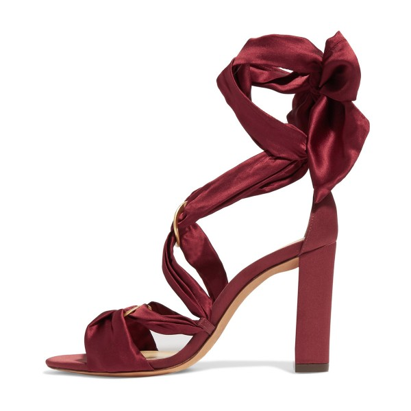 Burgundy Heels Satin Open Toe Chunky Heel Strappy Sandals by FSJ image 4