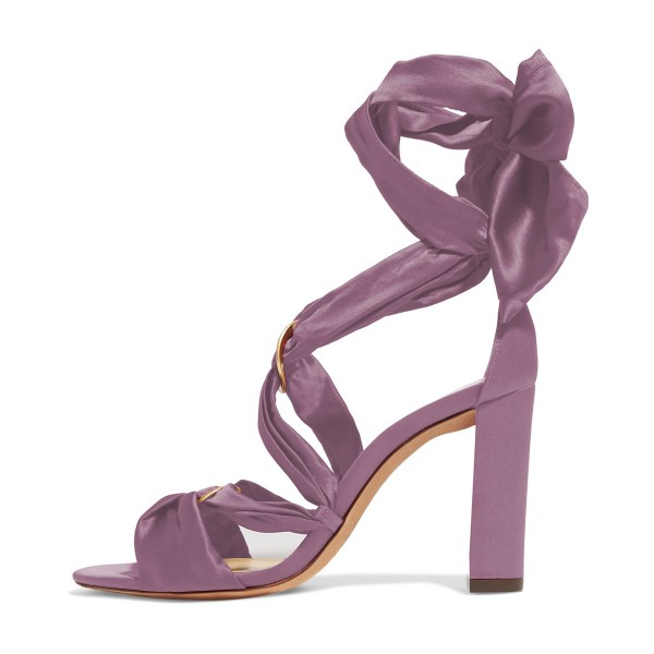 Women's Violet Bow Chunky Heel Strappy Sandals image 4