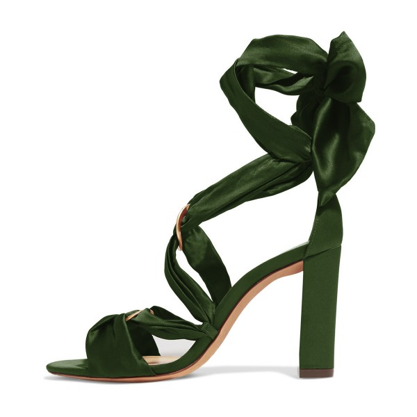 Women's Green Bow Chunky Heel Strappy Sandals image 4