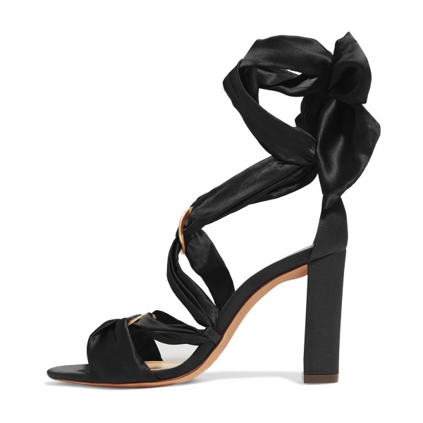 Women's Black Bow Chunky Heel Strappy Sandals image 4