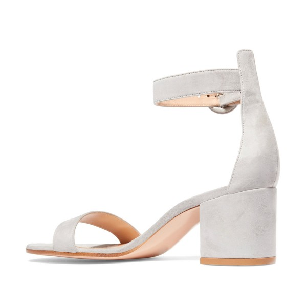 Women's Grey Suede Chunky Heel Ankle Strap Sandals image 2