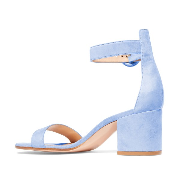Women's Light Blue Suede Chunky Heel Ankle Strap Sandals image 2