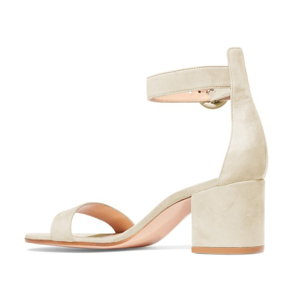 Women's Champagne Suede Chunky Heel Ankle Strap Sandals image 2
