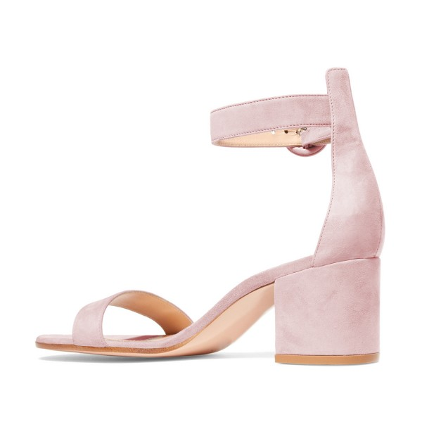 Women's Blush Suede Ankle Strap Heels Chunky Heel Sandals image 2