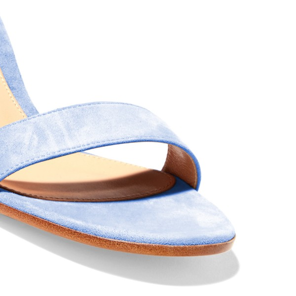 Women's Light Blue Suede Chunky Heel Ankle Strap Sandals image 4