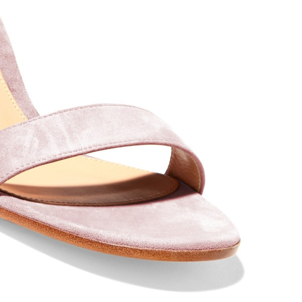 Women's Blush Suede Ankle Strap Heels Chunky Heel Sandals image 3